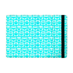 Aqua Turquoise And White Owl Pattern Ipad Mini 2 Flip Cases