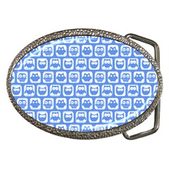 Blue And White Owl Pattern Belt Buckles