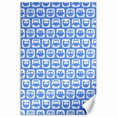 Blue And White Owl Pattern Canvas 24  X 36  by creativemom