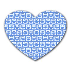 Blue And White Owl Pattern Heart Mousepads