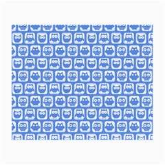 Blue And White Owl Pattern Small Glasses Cloth (2 Side) by creativemom
