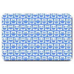 Blue And White Owl Pattern Large Doormat
