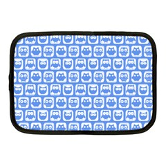 Blue And White Owl Pattern Netbook Case (medium)  by creativemom