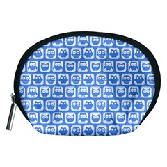 Blue And White Owl Pattern Accessory Pouches (medium)
