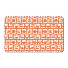 Coral And White Owl Pattern Magnet (rectangular)