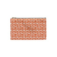 Coral And White Owl Pattern Cosmetic Bag (small)  by creativemom