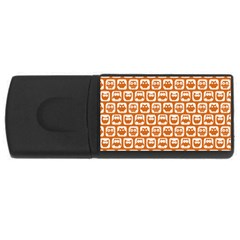 Orange And White Owl Pattern Usb Flash Drive Rectangular (4 Gb)  by creativemom
