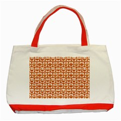 Orange And White Owl Pattern Classic Tote Bag (red)