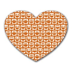 Orange And White Owl Pattern Heart Mousepads