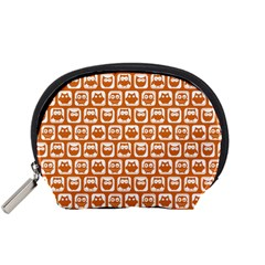 Orange And White Owl Pattern Accessory Pouches (small)  by creativemom