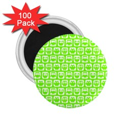 Lime Green And White Owl Pattern 2 25  Magnets (100 Pack)  by creativemom