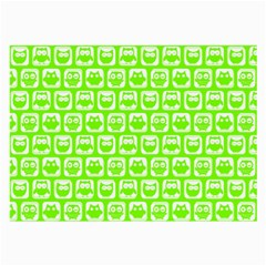 Lime Green And White Owl Pattern Large Glasses Cloth (2 Side) by creativemom