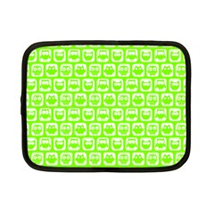 Lime Green And White Owl Pattern Netbook Case (small)  by creativemom