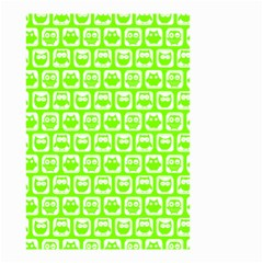 Lime Green And White Owl Pattern Small Garden Flag (two Sides)