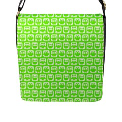 Lime Green And White Owl Pattern Flap Messenger Bag (l)  by creativemom