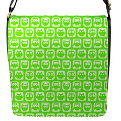 Lime Green And White Owl Pattern Flap Messenger Bag (s) by creativemom