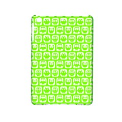 Lime Green And White Owl Pattern Ipad Mini 2 Hardshell Cases by creativemom