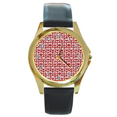 Red And White Owl Pattern Round Gold Metal Watches