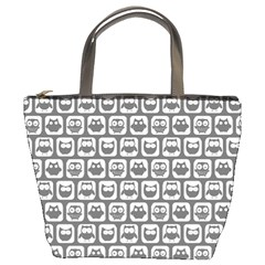 Gray And White Owl Pattern Bucket Bags by creativemom