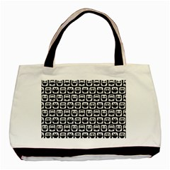Black And White Owl Pattern Basic Tote Bag (two Sides)  by creativemom
