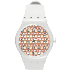 Colorful Whimsical Owl Pattern Round Plastic Sport Watch (m)