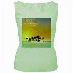 Beautiful Island In The Sunset Women s Green Tank Tops by FantasyWorld7