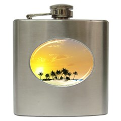 Beautiful Island In The Sunset Hip Flask (6 Oz) by FantasyWorld7