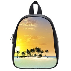 Beautiful Island In The Sunset School Bags (small)  by FantasyWorld7