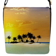 Beautiful Island In The Sunset Flap Messenger Bag (s) by FantasyWorld7