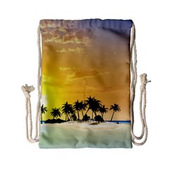 Beautiful Island In The Sunset Drawstring Bag (small) by FantasyWorld7