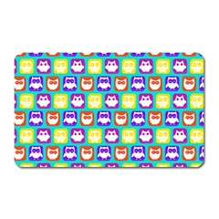 Colorful Whimsical Owl Pattern Magnet (rectangular) by creativemom