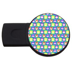 Colorful Whimsical Owl Pattern Usb Flash Drive Round (2 Gb)  by creativemom
