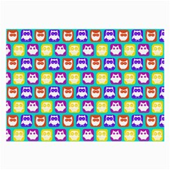 Colorful Whimsical Owl Pattern Large Glasses Cloth (2 Side) by creativemom