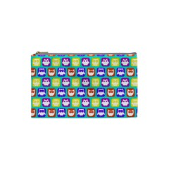 Colorful Whimsical Owl Pattern Cosmetic Bag (small)  by creativemom
