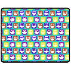 Colorful Whimsical Owl Pattern Double Sided Fleece Blanket (medium)  by creativemom