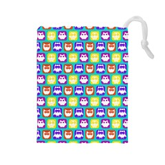 Colorful Whimsical Owl Pattern Drawstring Pouches (large)