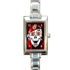 Funny Happy Skull Rectangle Italian Charm Watches by FantasyWorld7