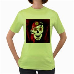 Funny Happy Skull Women s Green T-shirt by FantasyWorld7