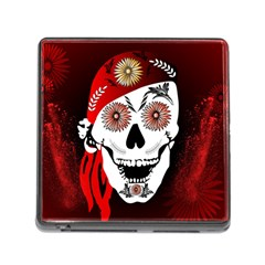 Funny Happy Skull Memory Card Reader (square) by FantasyWorld7