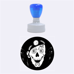 Funny Happy Skull Rubber Round Stamps (medium) by FantasyWorld7