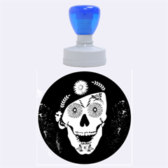 Funny Happy Skull Rubber Round Stamps (large) by FantasyWorld7