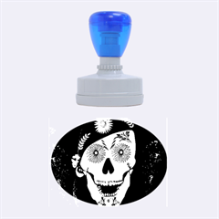 Funny Happy Skull Rubber Oval Stamps by FantasyWorld7