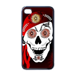 Funny Happy Skull Apple Iphone 4 Case (black) by FantasyWorld7