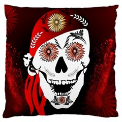 Funny Happy Skull Large Cushion Cases (two Sides)  by FantasyWorld7