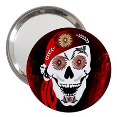 Funny Happy Skull 3  Handbag Mirrors by FantasyWorld7