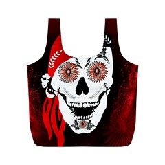 Funny Happy Skull Full Print Recycle Bags (m)  by FantasyWorld7