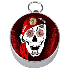 Funny Happy Skull Silver Compasses by FantasyWorld7