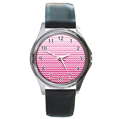 Pink Gradient Chevron Round Metal Watches by CraftyLittleNodes