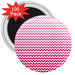 Pink Gradient Chevron 3  Magnets (100 Pack) by CraftyLittleNodes