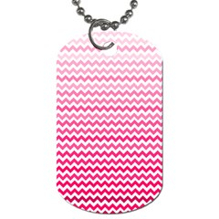 Pink Gradient Chevron Dog Tag (two Sides)